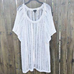 Torrid Short Sleeve Open Knit Sweater Size 4
